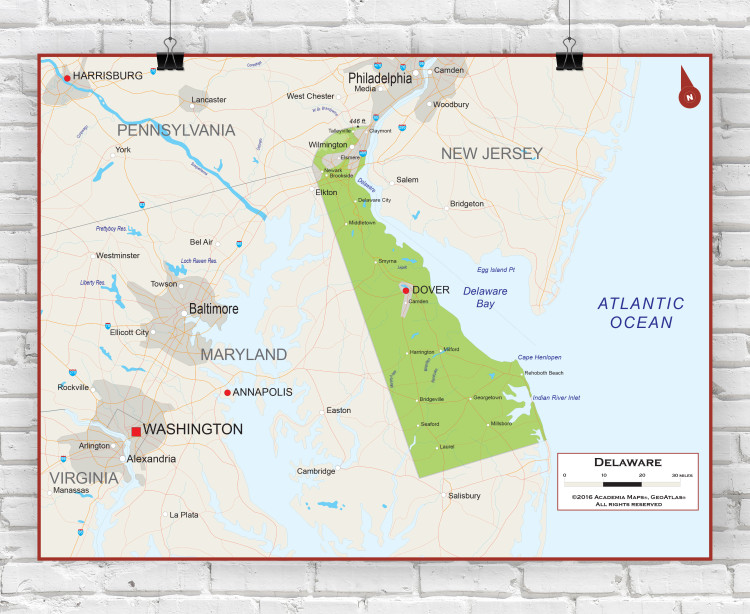 Delaware Physical State Wall Map