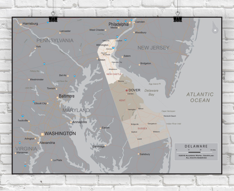 Delaware Executive State Wall Map