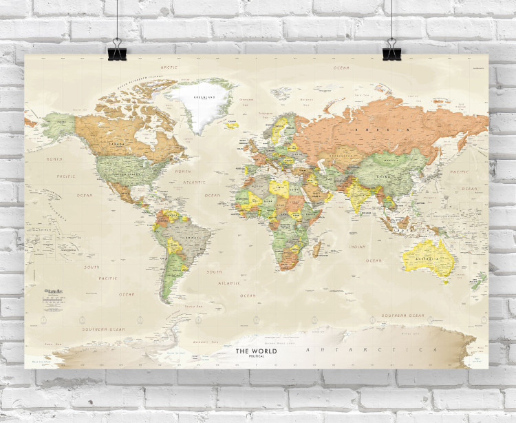 Detailed Antique Ocean World Political Wall Map