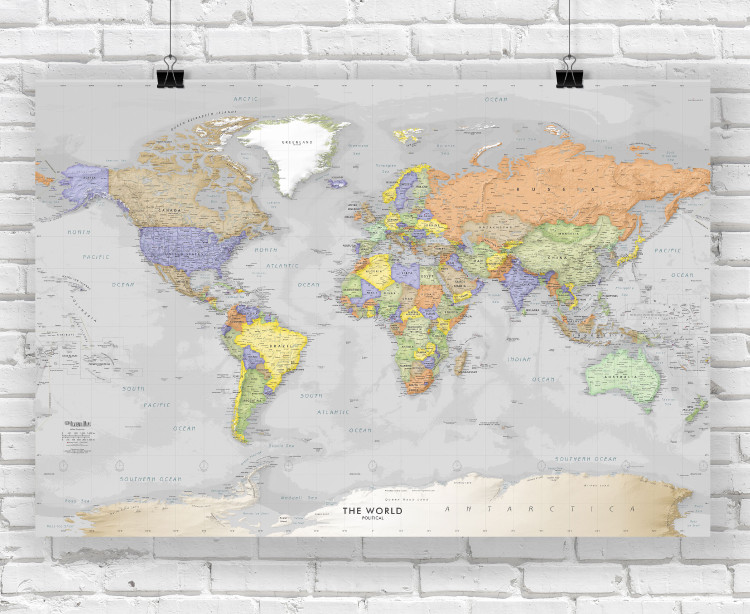 Detailed Gray Oceans World Wall Map