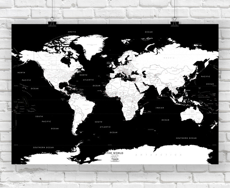 Black and White World Wall Map
