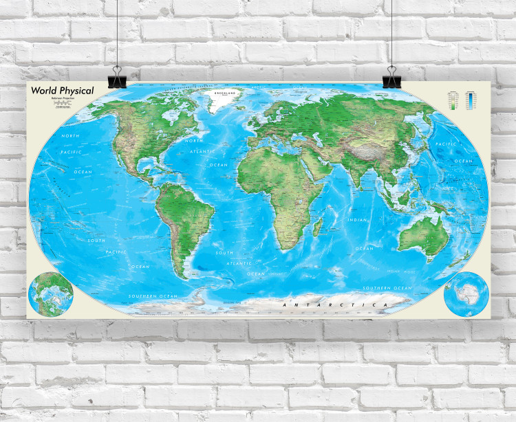 Detailed World Physical Wall Map - Robinson Projection