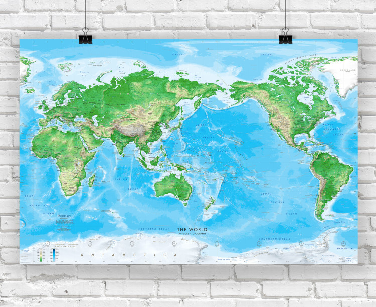 Detailed World Physical Wall Map - Pacific Centered at 150° E