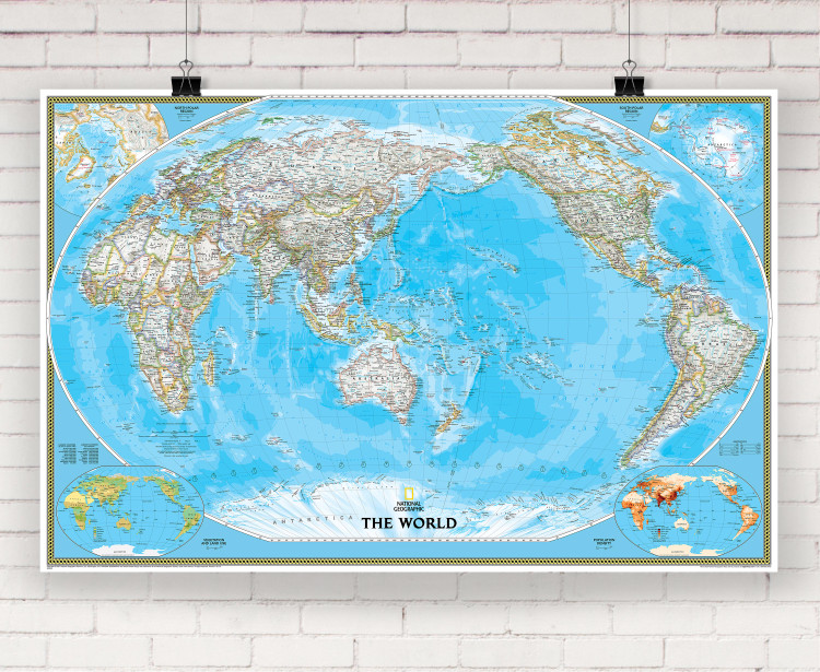 National Geographic World Classic Pacific Centered Wall Map