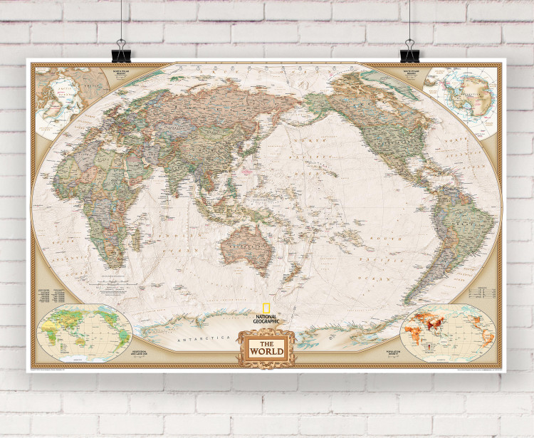 National Geographic World Executive Pacific Centered Wall Map