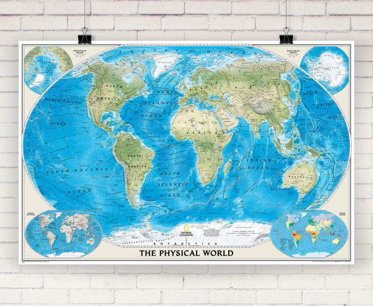 National Geographic World Physical Wall Map