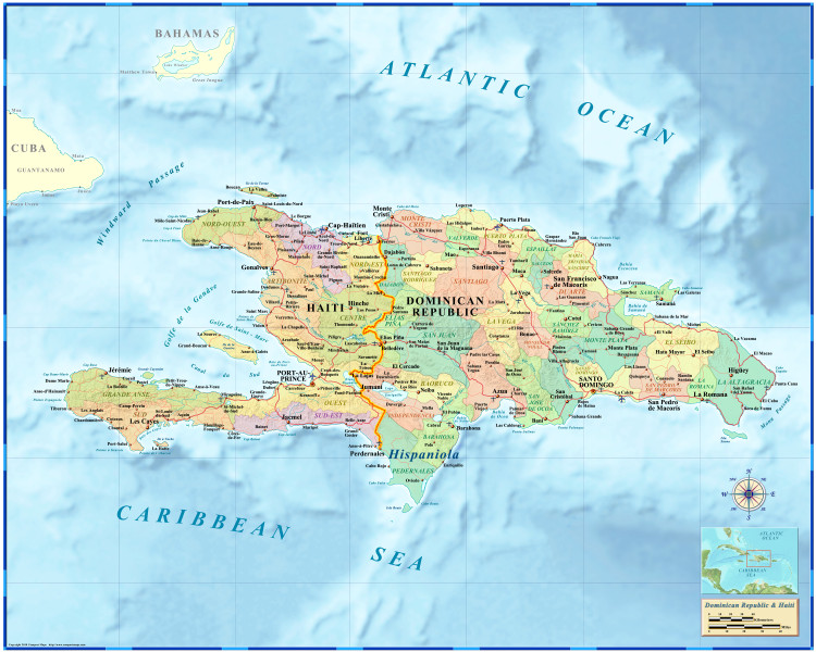 Haiti & the Dominican Republic Wall Map by Compart Maps
