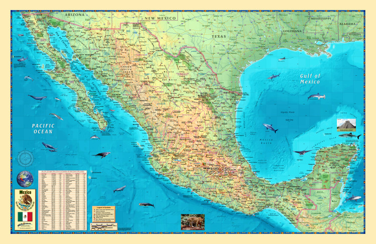Illustrated Mexico Wall Map by Compart Maps