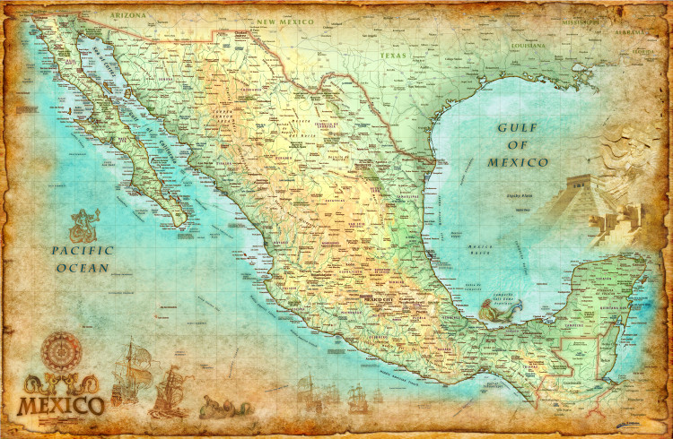 Mexico Antique Wall Map by Compart Maps