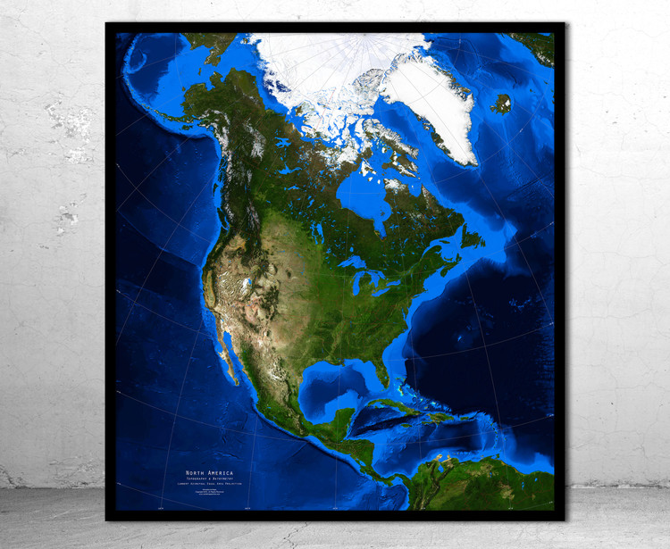 North America Satellite Image Map - Topography & Bathymetry - No Labels