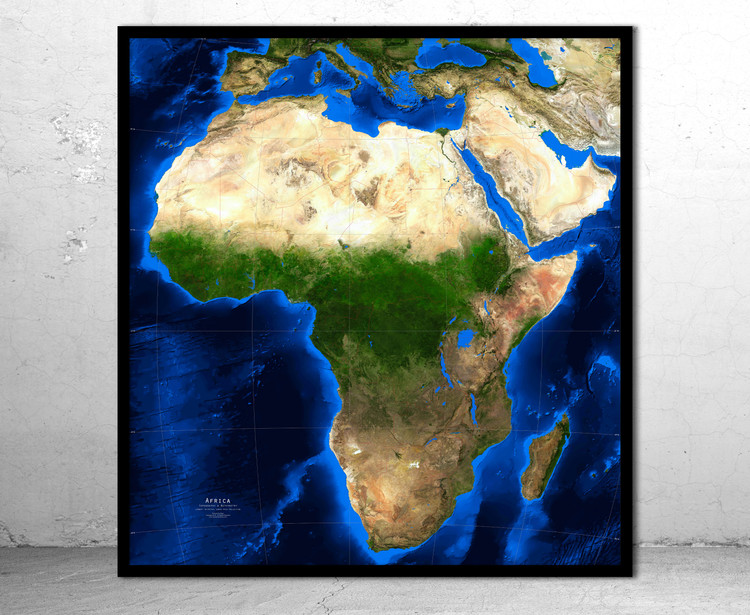 Africa Satellite Image Map - Topography & Bathymetry - No Labels