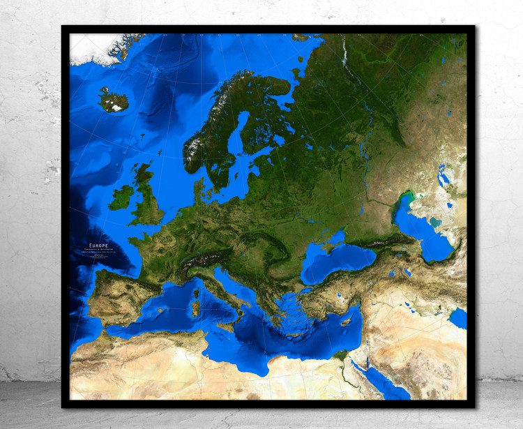 Europe Satellite Image Map - Topography & Bathymetry