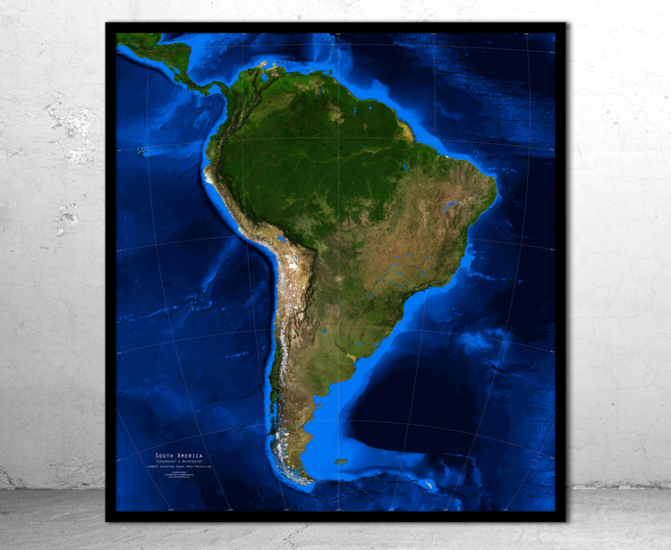 South America Satellite Image Map - Topography & Bathymetry - No Labels