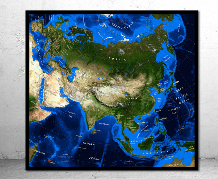 Asia Satellite Image Map - Topography & Bathymetry w/ Labels
