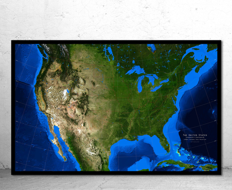 United States Satellite Image Map - Topography & Bathymetry - No Labels