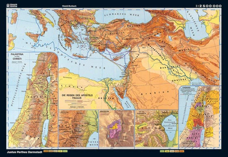 Bible Lands - History Map from Klett-Perthes