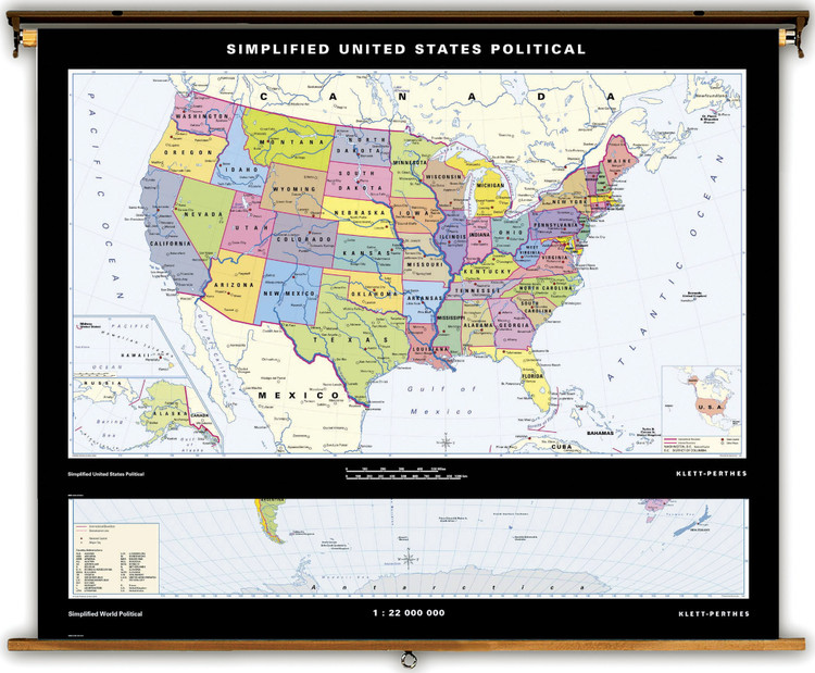 Simplified U.S. & World Political Combo from Klett-Perthes