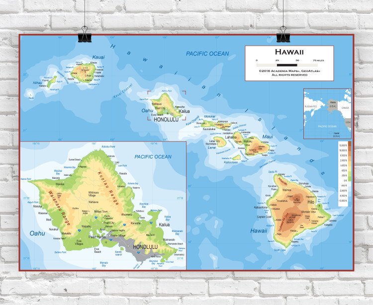 Hawaii Physical State Wall Map