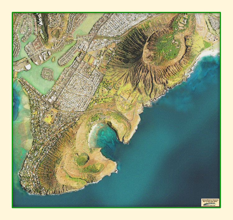 Huanama Bay & Diamond Head from Space Map from Compart