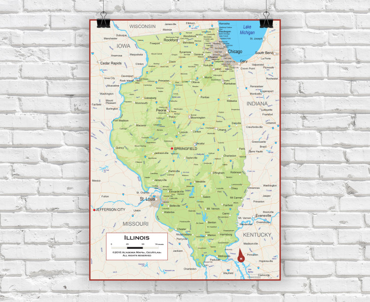 Illinois Physical State Wall Map