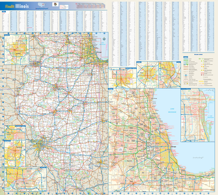 Illinois Reference Wall Map