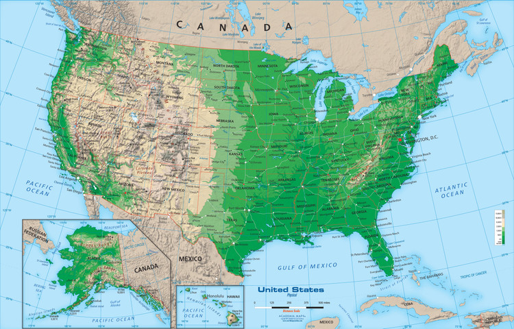 United States Topography Wall Map