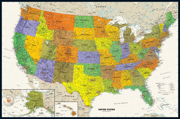 Contemporary United States Wall Map
