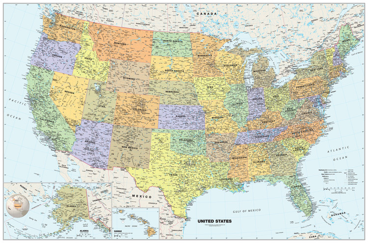 Classic United States Wall Map