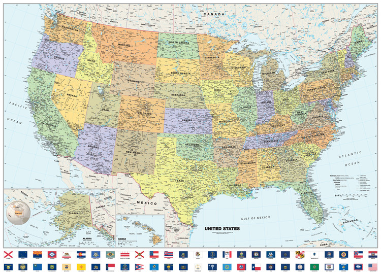 Classic United States Wall Map with State Flags