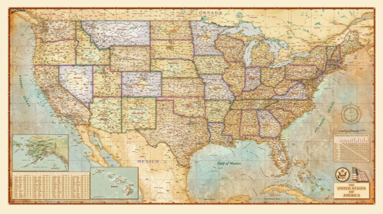 United States Antique Wall Map