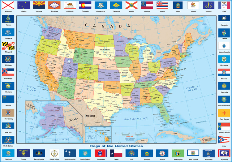 Flags of the States - United States Political Wall Map