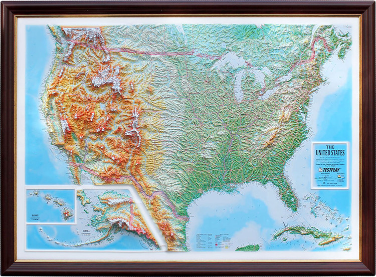 United States Exaggerated Raised Relief Map