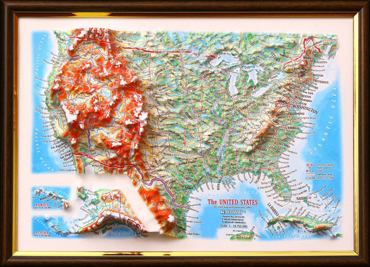 United States Framed Raised Relief Map