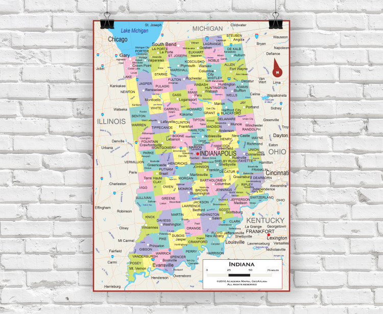 Indiana State Political Wall Map