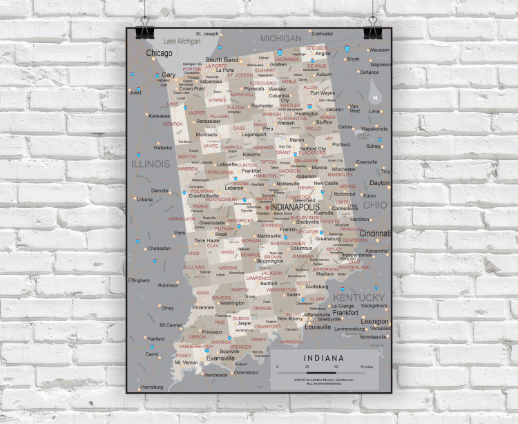 Indiana Executive State Wall Map