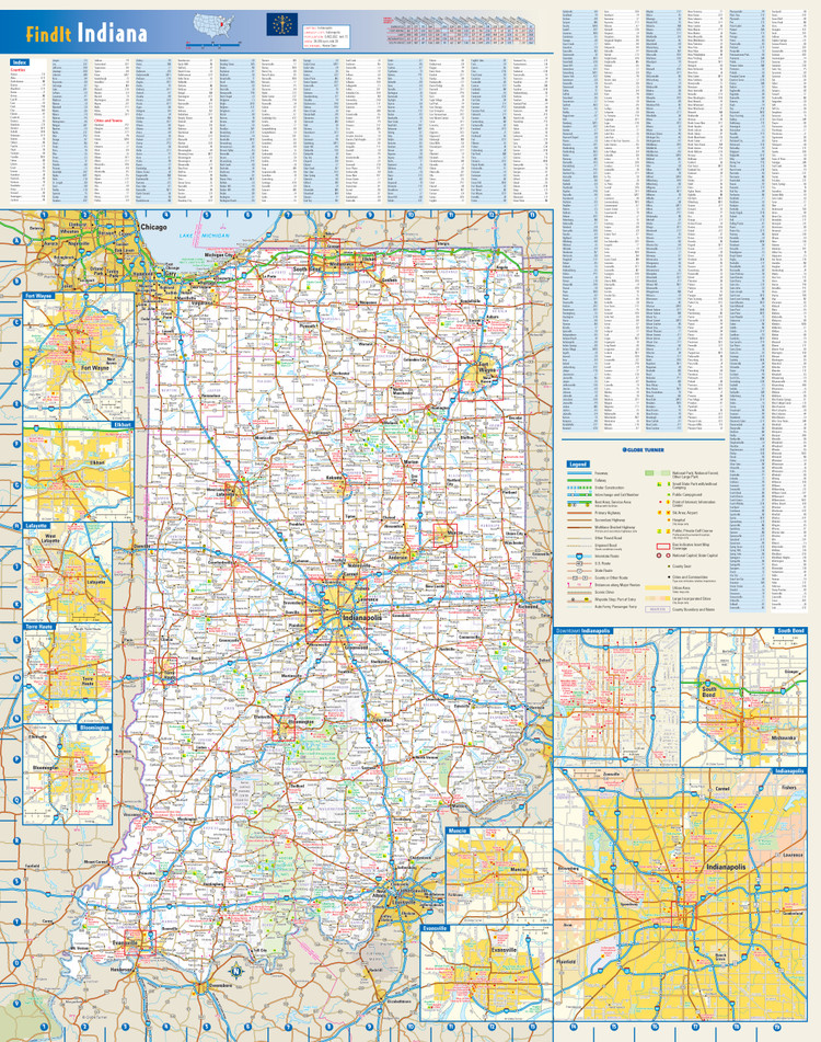 Indiana Reference Wall Map
