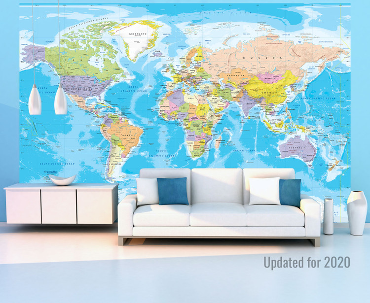 World Political Map Wall Mural - Removable Wallpaper