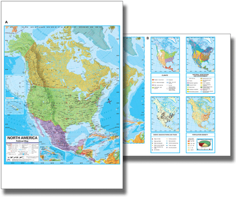 North America Political Desk Map from Kappa Maps