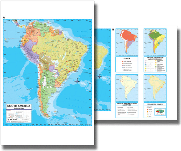 South America Political Desk Map from Kappa Maps