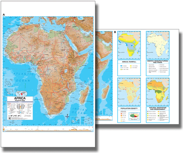 Africa Physical Desk Map from Kappa Maps