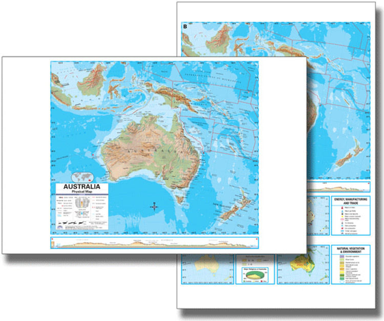 Australia Physical Desk Map from Kappa Maps