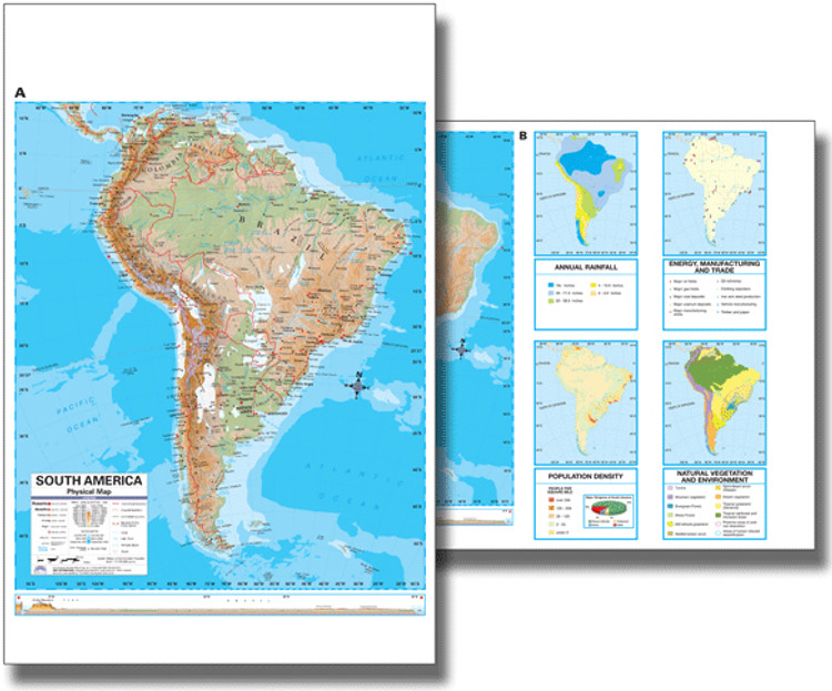 South America Physical Desk Map from Kappa Maps