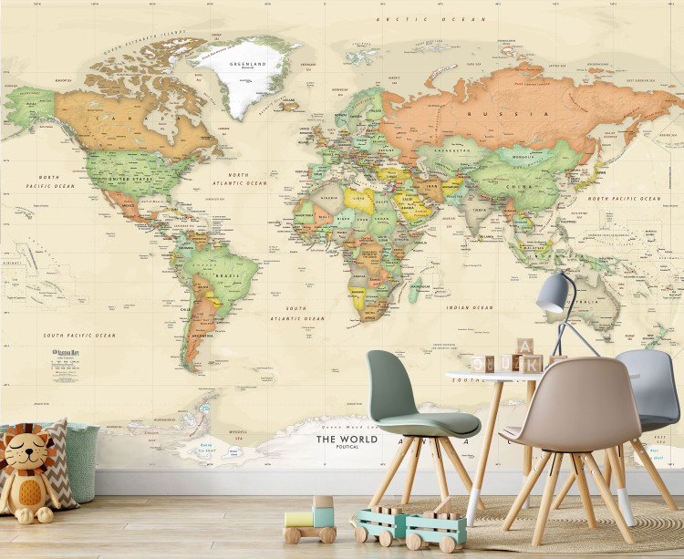 Antique Oceans World Political Map Wall Mural - w/ Shaded Relief