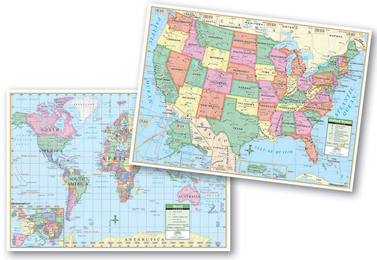 Primary U.S. & World Desk Map from Kappa Maps Set of 30