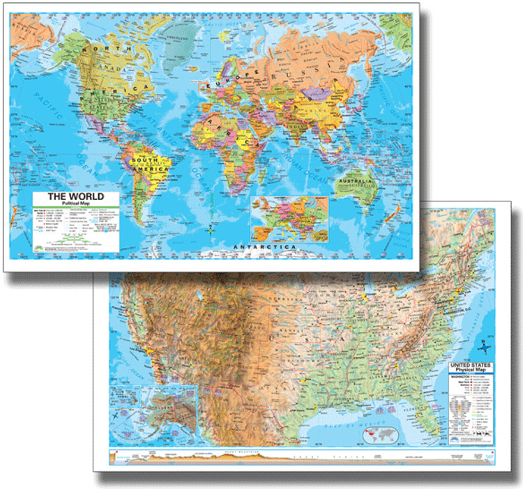 Advanced U.S. Physical & World Political Desk Map from Kappa Maps Set of 30