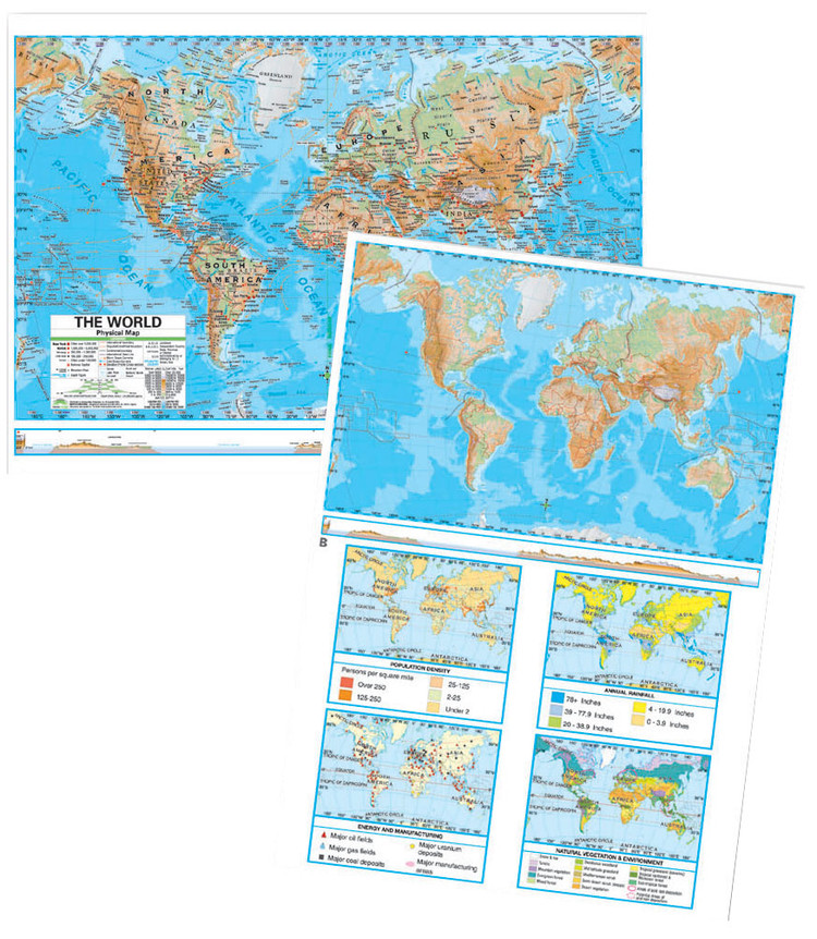 Advanced World Physical Desk Map from Kappa Maps Set of 30