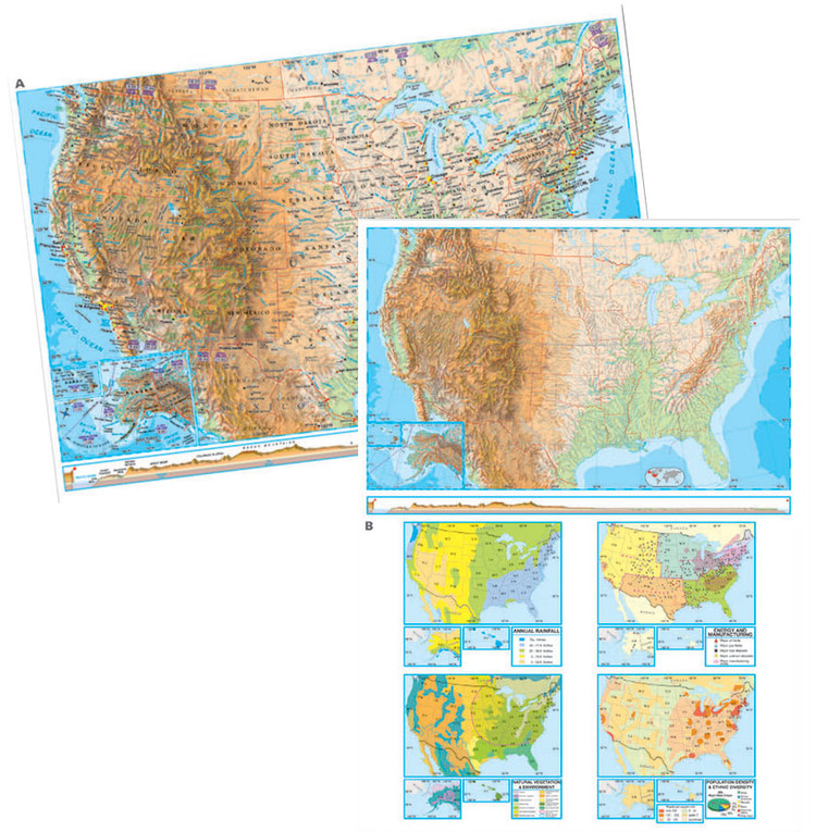 Advanced U.S. Physical Desk Map from Kappa Maps Set of 30
