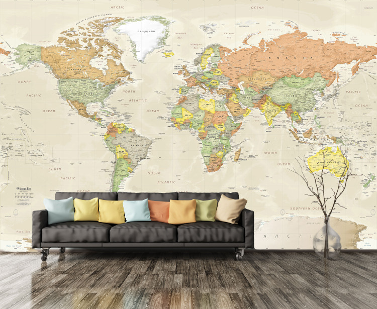 Detailed Antique Oceans World Political Map Mural - Removable Wallpaper