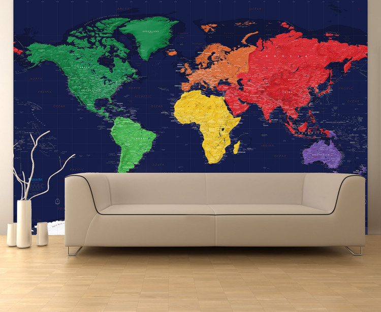 "Dark Oceans World Political Map Wall Mural - up to 166"" x 112"""