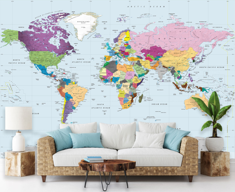 Simple Colorful World Political Map Wall Mural  - Peel & Stick Wallpaper